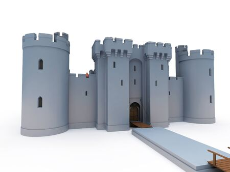 stone castle on white background, 3d rendering, illustration
