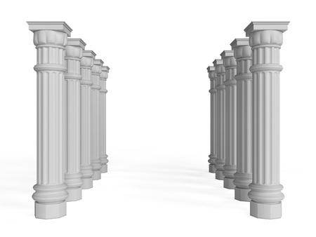 doric: Column Pillar Isolated on White Background, 3d rendering, illustration Stock Photo