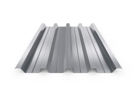 Gegolfde metalen plaat. 3D-afbeelding op een witte achtergrond