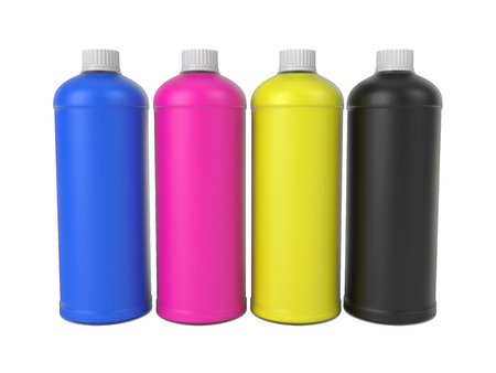 CMYK colors bottles, isolated on white background, 3d rendering, illustration