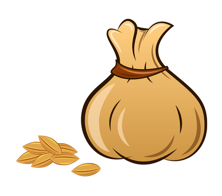 the filled sack on a white background, vector