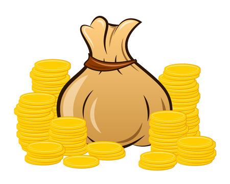 filled money bag on white background, vector