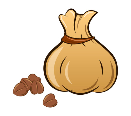filled bag of buckwheat on a white background, vector Illustration