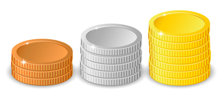 Stacks of gold, silver and bronze coins in different heights with gold the tallest in two different variants,vector illustration isolated on white