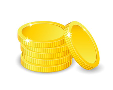 Vector Illustration of golden coins. Isolated on white. Increase earnings.