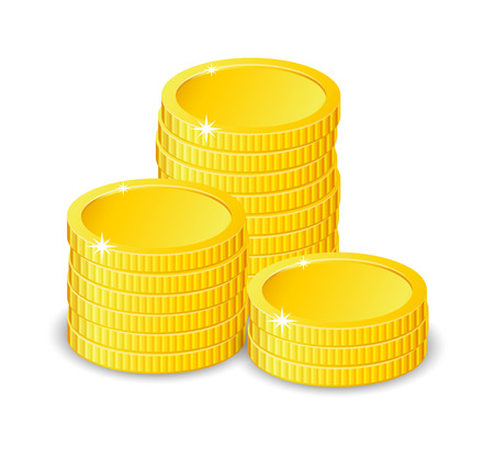 ganancias: Vector Illustration of golden coins. Isolated on white. Increase earnings.