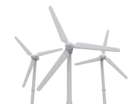 regenerating: wind turbine isolated on white backgroung, 3d rendering, illustration