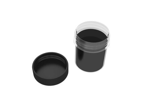 paint container: jar of black paint isolated on white background, 3d rendering, illustration Stock Photo