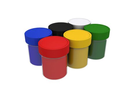 jars with multicolored gouache isolated on white background, 3d rendering, illustration