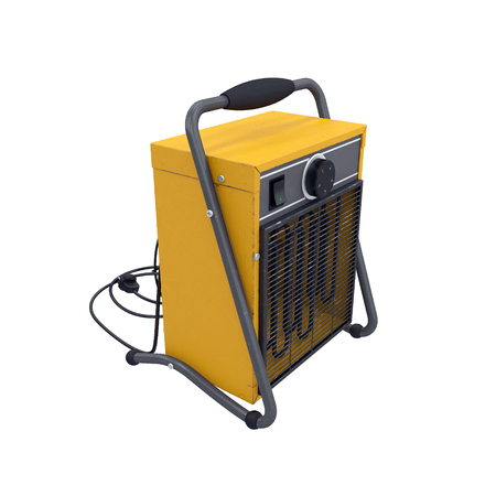 Industrial fan heater isolated on white background, 3d rendering Stock Photo