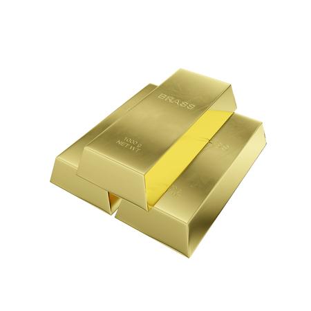 brass ingot isolated on a white background, 3D rendering Zdjęcie Seryjne