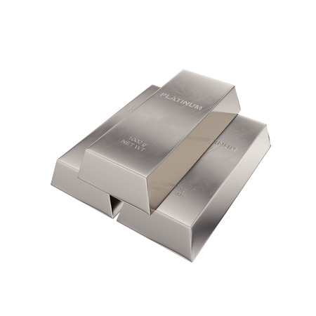 platinum ingot isolated on a white background, 3D rendering