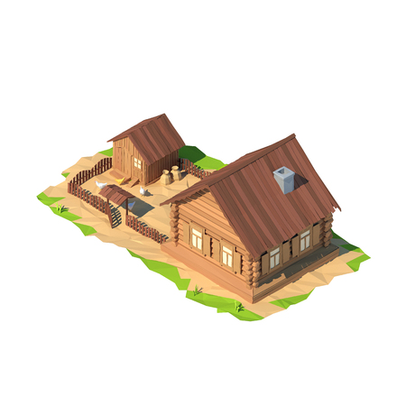 coop: Isometric low poly house, 3D rendering, illustration Stock Photo