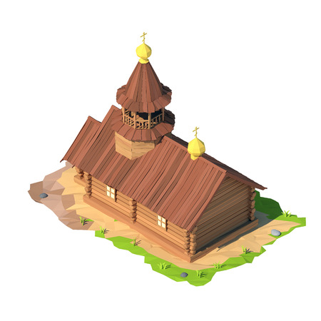 Isometric low poly church, 3D rendering, illustration Stock Photo