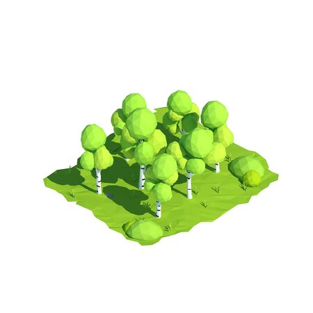 Isometric low poly birch, 3D rendering, illustration Stock Photo