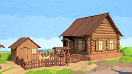Isometric low poly house, 3D rendering, illustration Stock Photo
