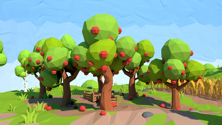 Isometric low poly apple orchard, 3D rendering Stock Photo