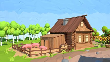 Isometric low poly house, 3D rendering