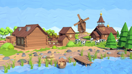 Isometric low poly village, 3D rendering, illustration Stock Photo