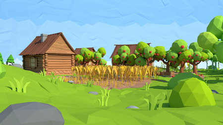 Isometric low poly village, 3D rendering