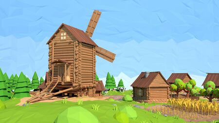 wind mills: Isometric low poly windmill, 3D rendering Stock Photo