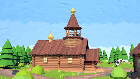 spire: Isometric low poly church, 3D rendering, illustration Stock Photo