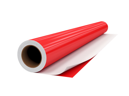 roll PVC film, Isolated on White Background, 3D rendering, illustration