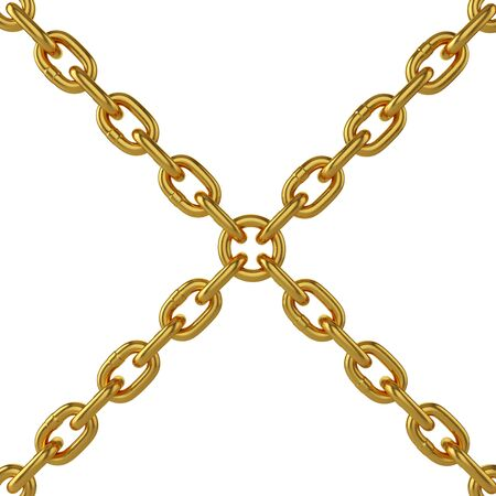 gold chain isolated on white background, 3d rendering, illustration 免版税图像