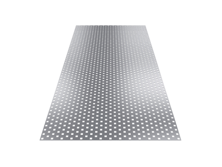 steel sheet: perforated sheet, 3D rendering, isolated on white background, illustration