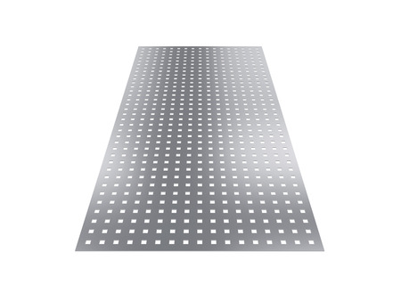 perforated sheet, 3D rendering, isolated on white background, illustration