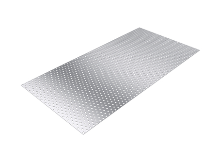 metalic texture: perforated sheet, 3D rendering, isolated on white background, illustration