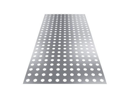 perforated sheet, 3D rendering, isolated on white background, illustration Reklamní fotografie - 72004640