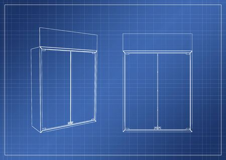 wardrobe on paper blueprint, 3D rendering, illustration Stock Photo