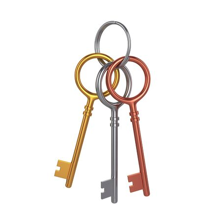 Bunch of three keys, isolated on white background, 3d rendering, illustration