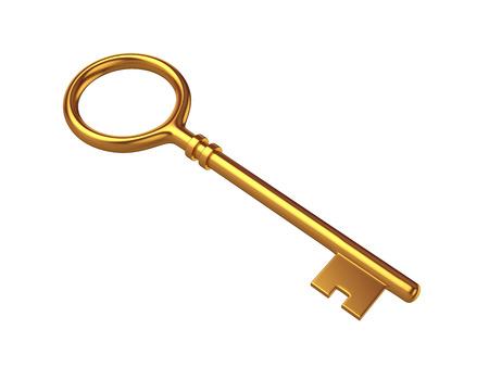 Key Isolated on White Background, 3D rendering, illustration Stock Photo