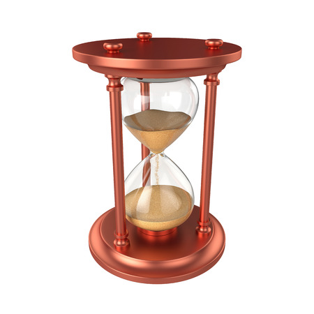 Hourglass Isolated on White Background, 3D rendering, illustration