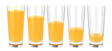 Set of glasses of orange juice on white background Zdjęcie Seryjne