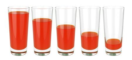Set of glasses of tomato juice on white background