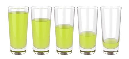 Set of glasses of juice on white background