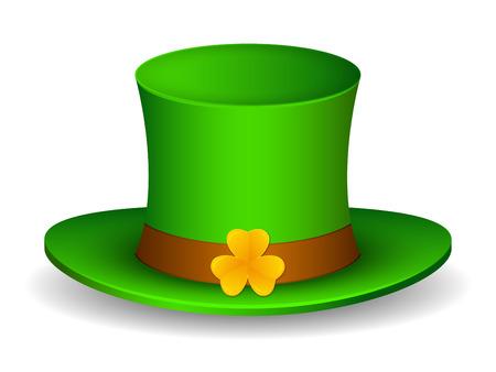 Saint Patricks hat with clover. Isolated on white background. Vector Illustration Ilustracja