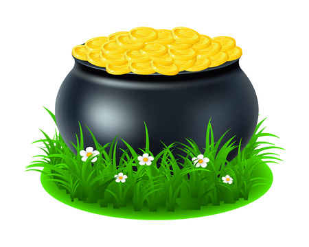 pot with gold coin for Patricks day. vector illustration isolated on white background