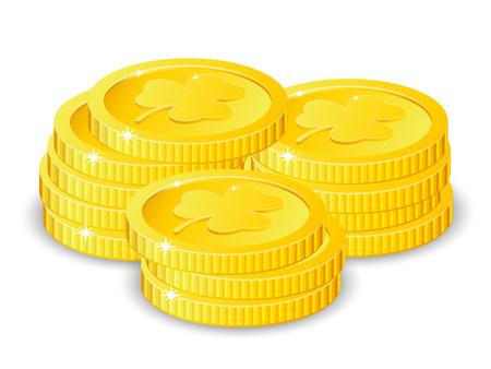 Golden coins with four leaf clover, vector illustration, for St. Patricks day