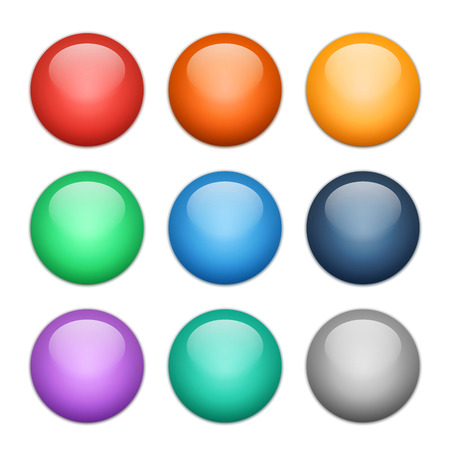 Set of multicolored glass spheres with shadows, vector