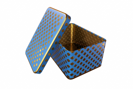 Empty metal box with lid, Isolated on White Background, 3D rendering
