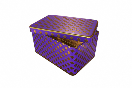 Empty metal box with lid, Isolated on White Background, 3D rendering, illustration Zdjęcie Seryjne