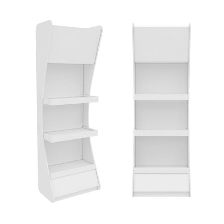 support blanc isolé sur fond blanc, rendu 3D. Illustration