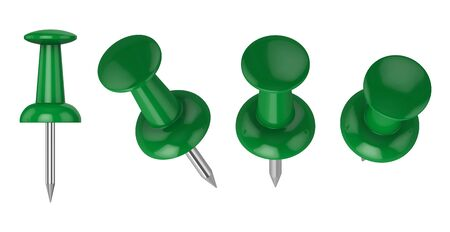 Collection of various push pins isolated on white background, 3d rendering. Illustration