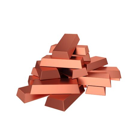 Copper ingots isolated on white background, 3D rendering. Illustration