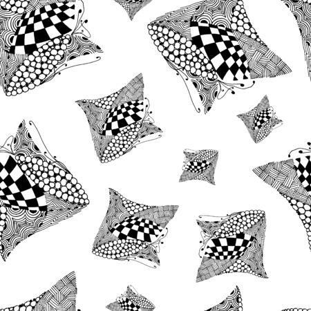Black and white abstract zenart seamless pattern illustration Banque d'images - 138348769
