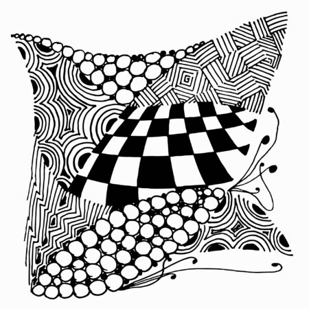Black and white abstract zenart hand-drawing illustration Banque d'images - 138348767